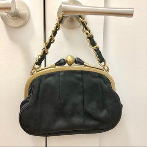 Jcrew black satin purse / clutch gold detail